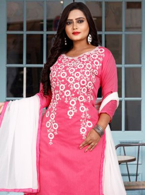 Pink Chanderi Cotton Festival Pant Style Suit