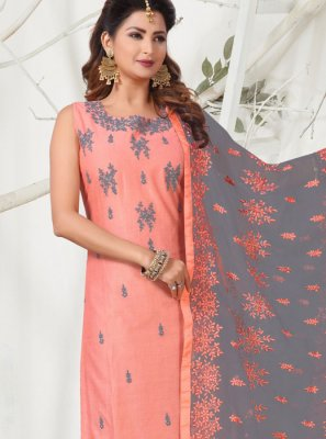 Pink Chanderi Readymade Churidar Salwar Suit