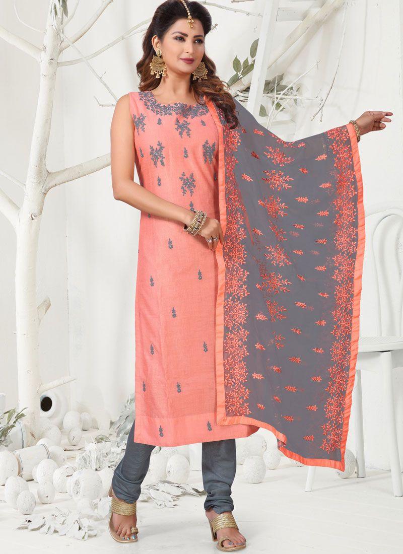 Pink Chanderi Readymade Churidar Salwar Suit