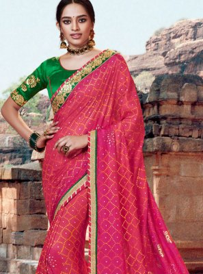 Pink Color Bandhej Saree