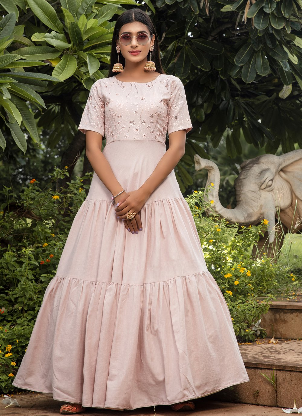 Pink Color Floor Length Gown