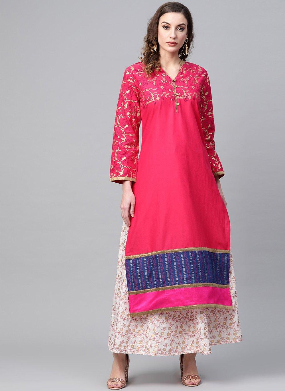 Pink Cotton Block Print Designer Kurti