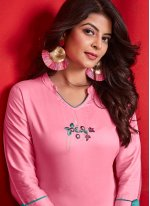 Pink Cotton Casual Kurti