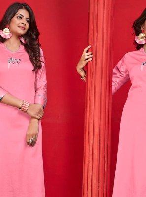 Pink Cotton Casual Kurti