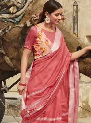 Pink Cotton Casual Saree