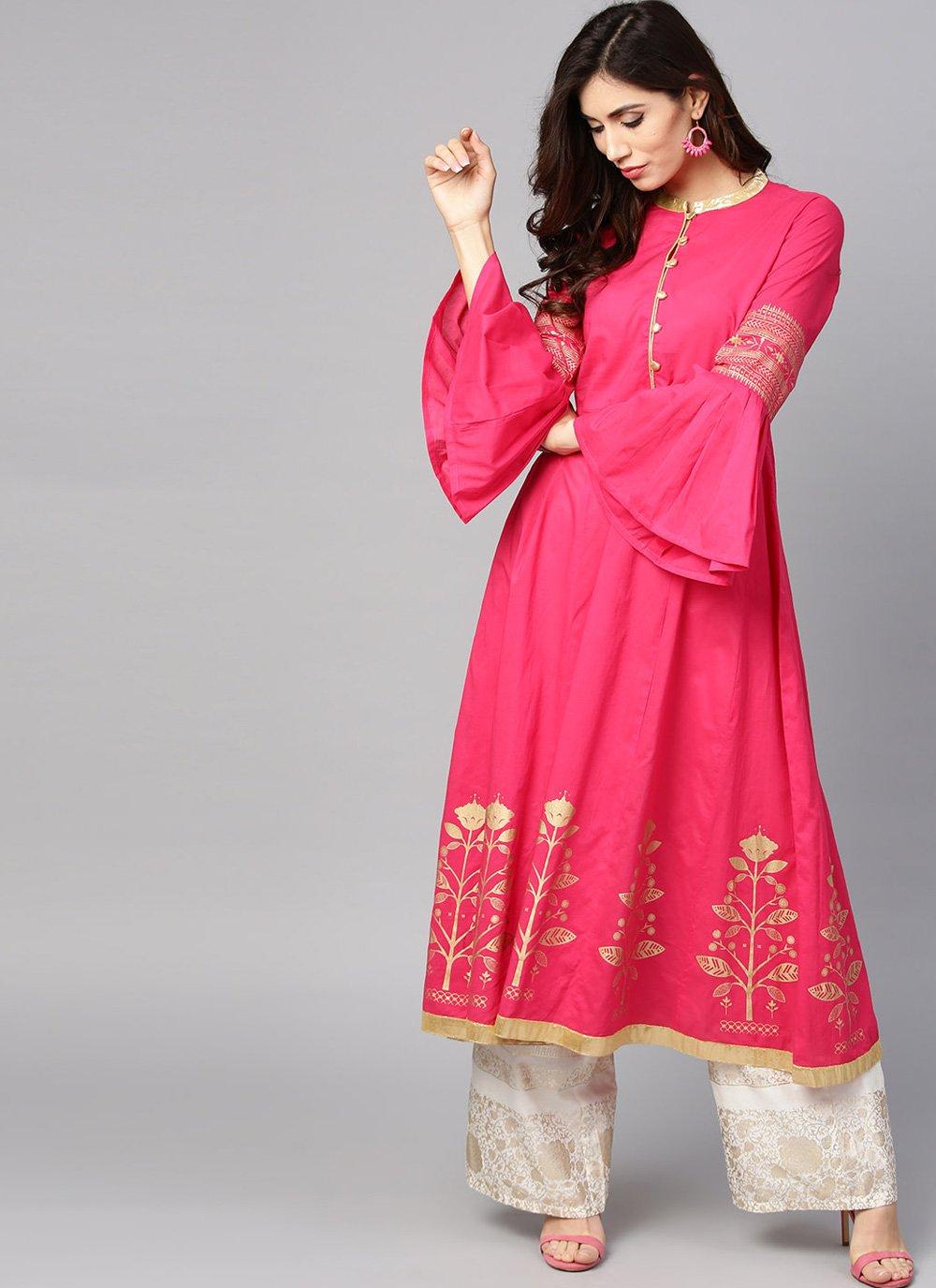 Pink Cotton Designer Kurti