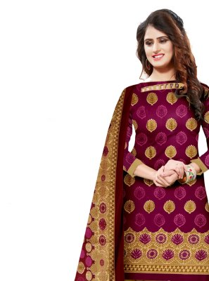Pink Cotton Engagement Salwar Suit