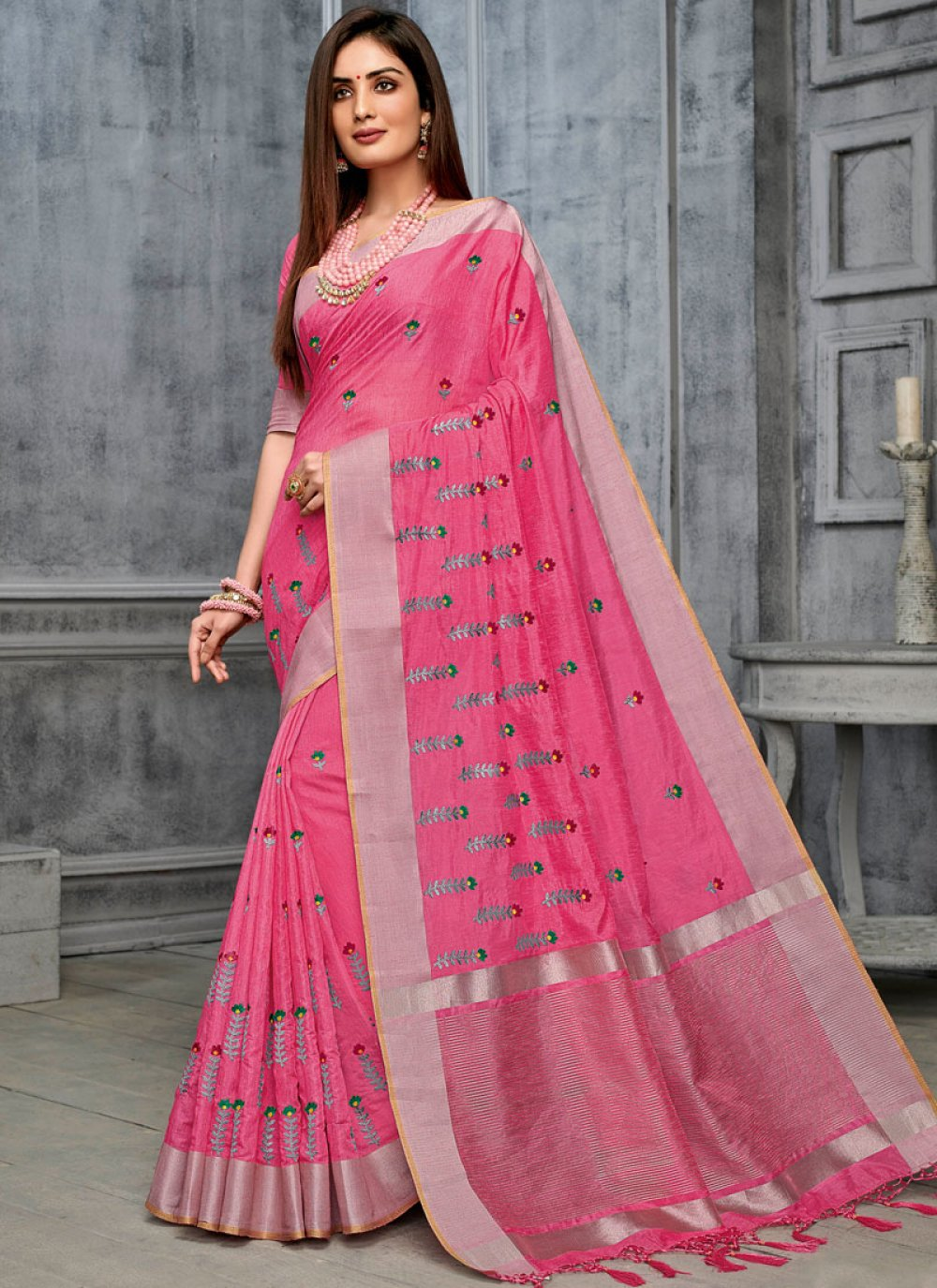 Pink Cotton Party Classic Designer Saree