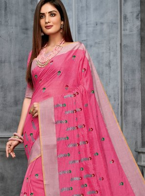 Pink Cotton Party Classic Designer Saree