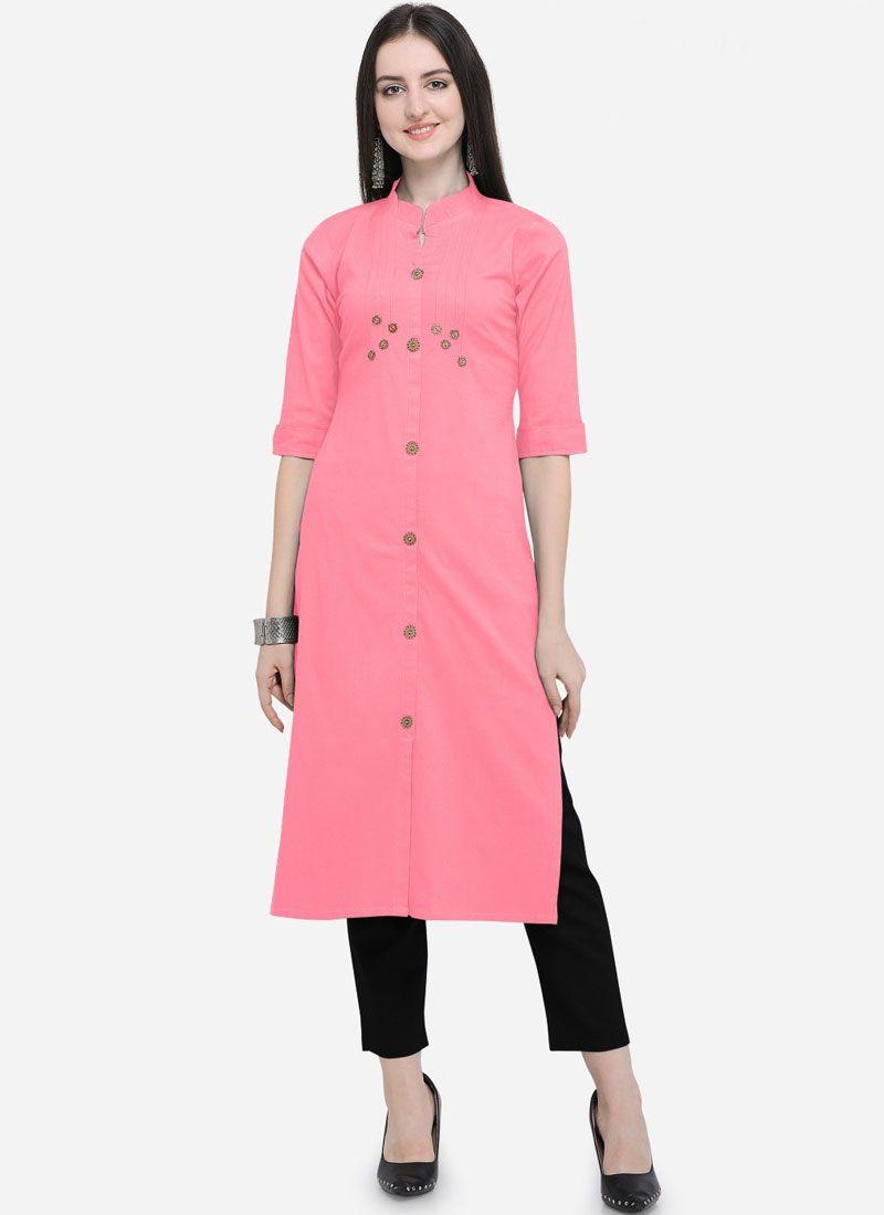 Pink Cotton Plain Party Wear Kurti