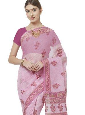 Pink Cotton Printed Casual Saree