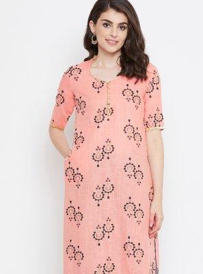 Pink Cotton Printed Designer Kurti