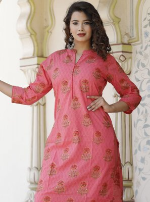 Pink Cotton Reception Party Wear Kurti