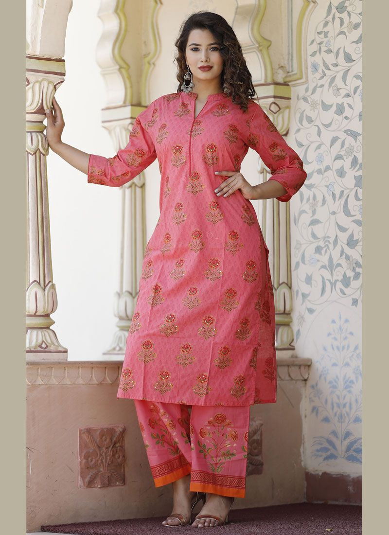 Pink Cotton Reception Party Wear Kurti