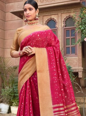 Pink Cotton Silk Bollywood Saree