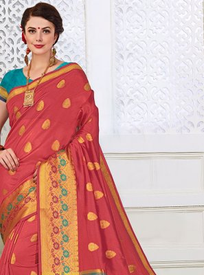 Pink Cotton Silk Classic Designer Saree