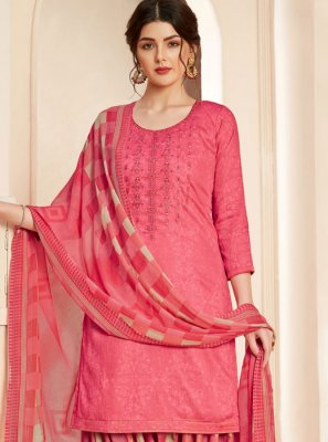 Pink Cotton Thread Salwar Suit