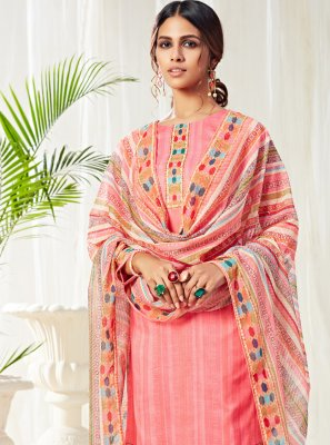 Pink Digital Print Straight Salwar Suit