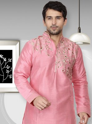 Pink Embroidered Art Dupion Silk Kurta
