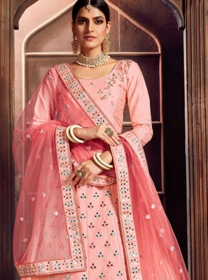 Pink Embroidered Art Silk Designer Lehenga Choli