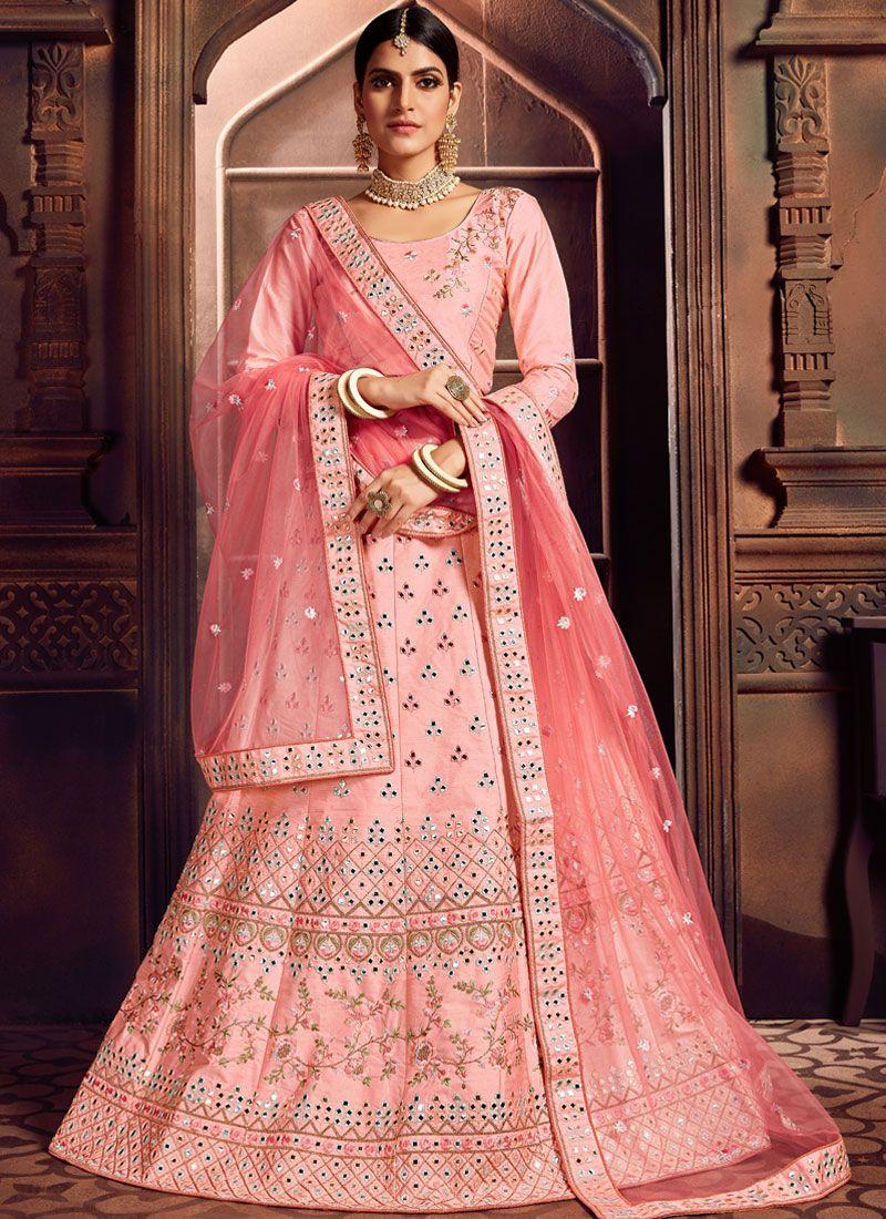 Pink Embroidered Art Silk Designer Lehenga Choli