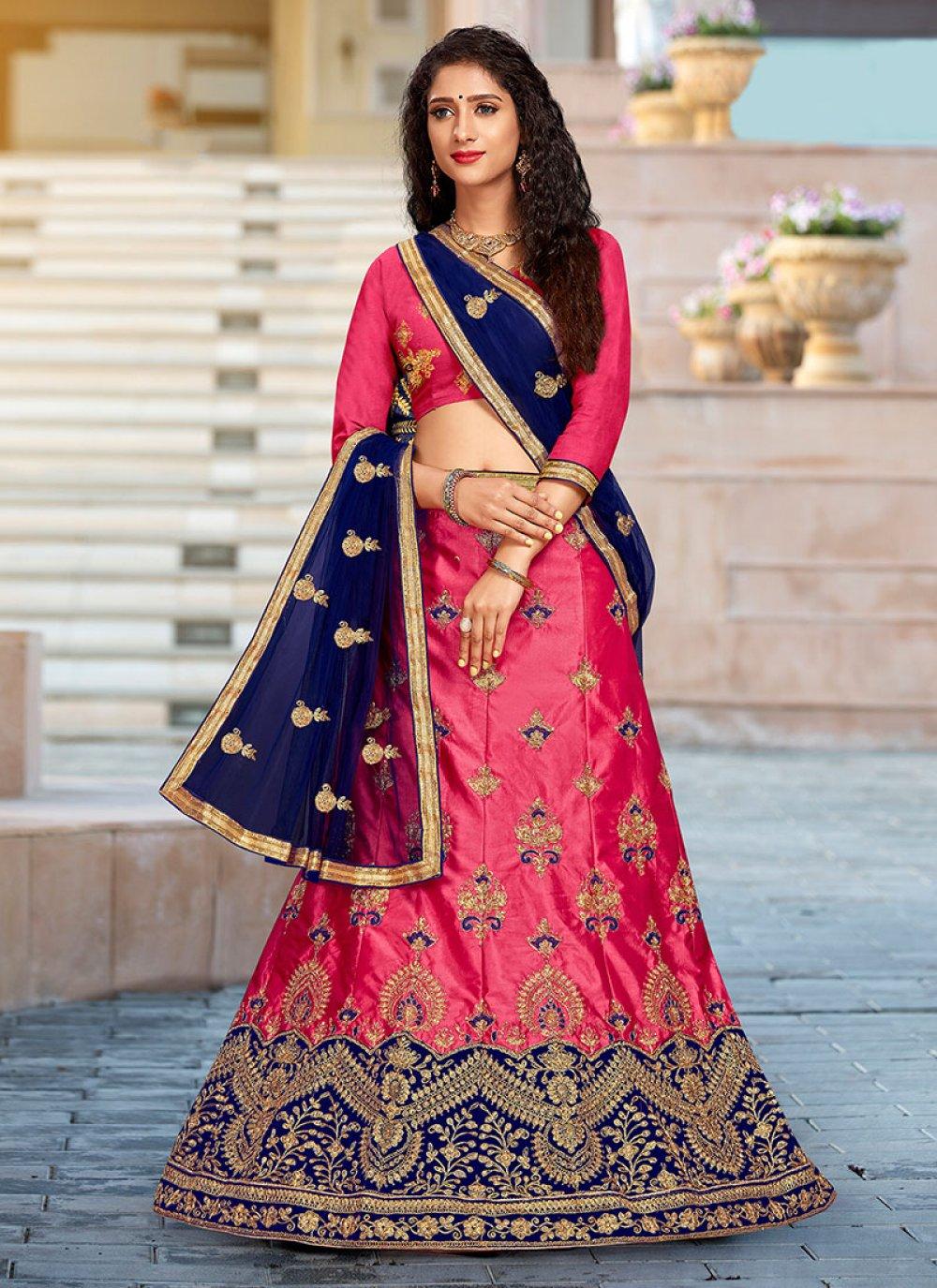 Pink Embroidered Art Silk Trendy Designer Lehenga Choli