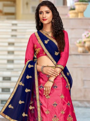 Pink Embroidered Art Silk Trendy Designer Lehenga Choli