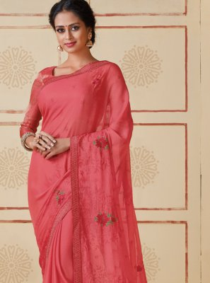 Pink Embroidered Ceremonial Classic Saree