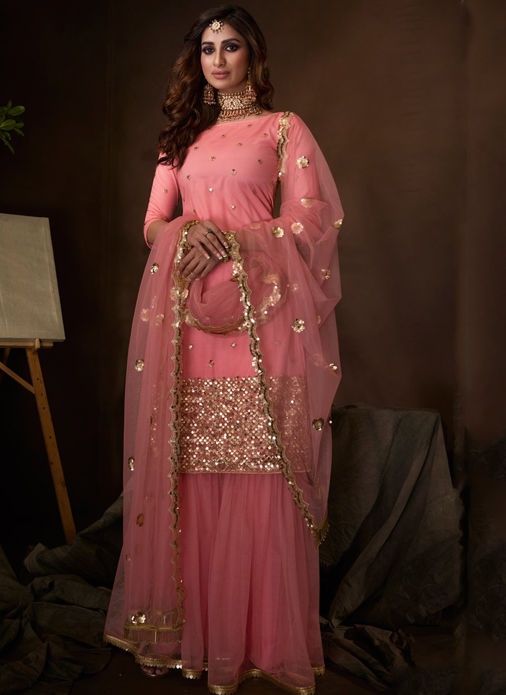 Pink Embroidered Ceremonial Palazzo Salwar Kameez