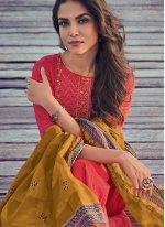 Pink Embroidered Cotton Salwar Kameez