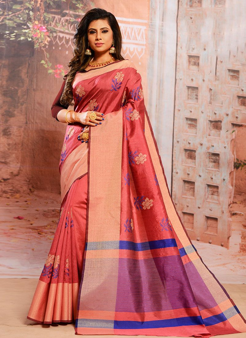 Pink Embroidered Cotton Trendy Saree