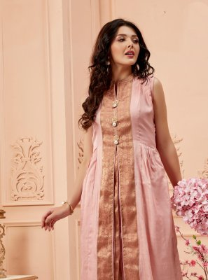 Pink Embroidered Designer Kurti