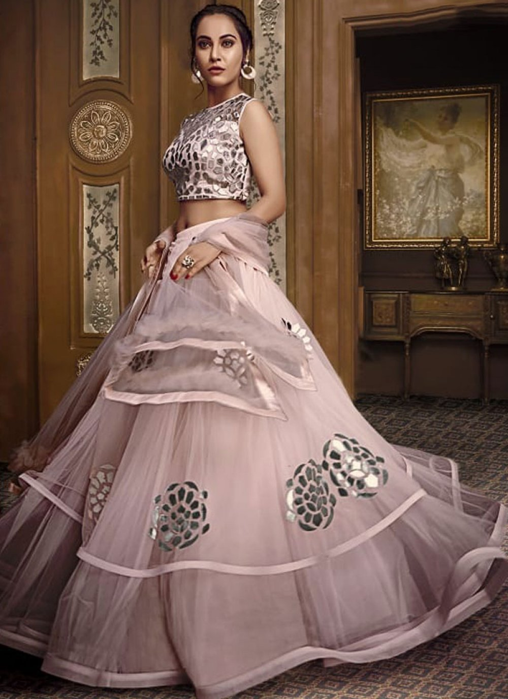 Pink Embroidered Designer Lehenga Choli