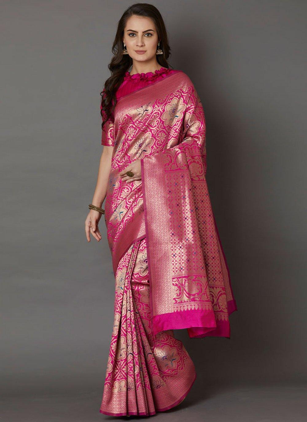 Pink Embroidered Designer Saree