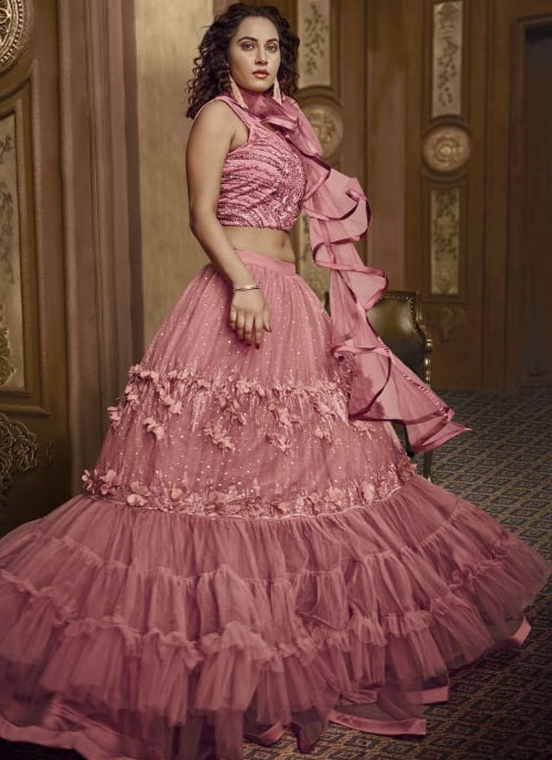 Pink Embroidered Fancy Fabric Designer Lehenga Choli