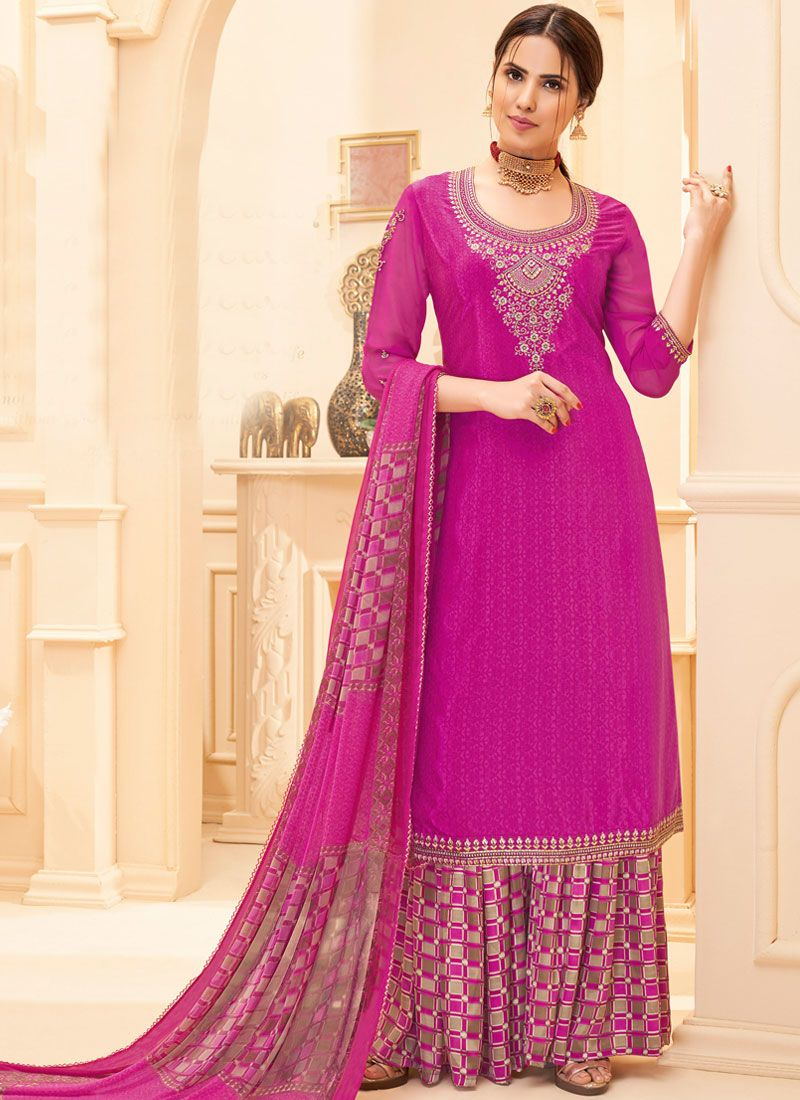 Pink Embroidered Faux Crepe Salwar Suit