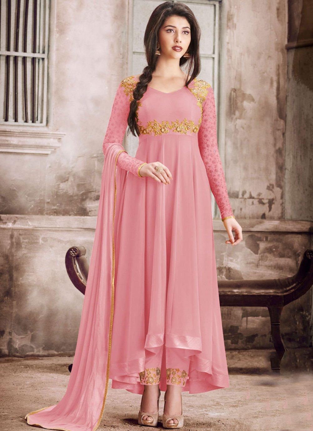 Pink Embroidered Faux Georgette Salwar Kameez