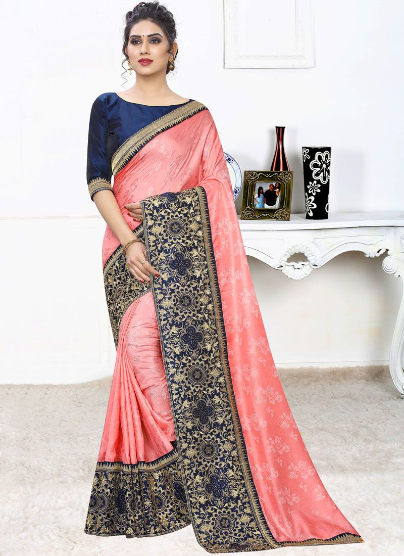 Pink Embroidered Faux Georgette Traditional Designer Saree