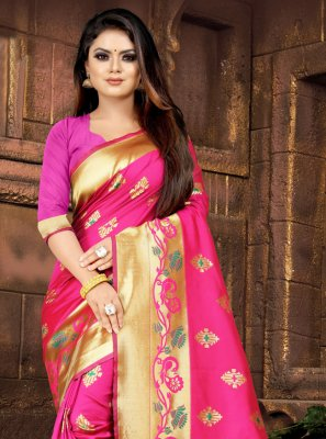 Pink Embroidered Festival Designer Saree