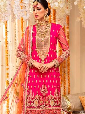 Pink Embroidered Festival Palazzo Salwar Suit