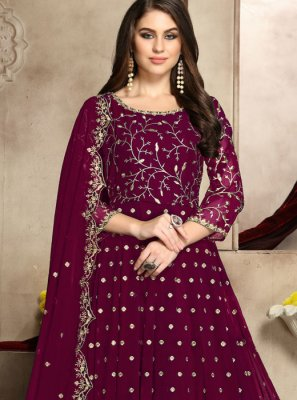 Pink Embroidered Georgette Anarkali Suit