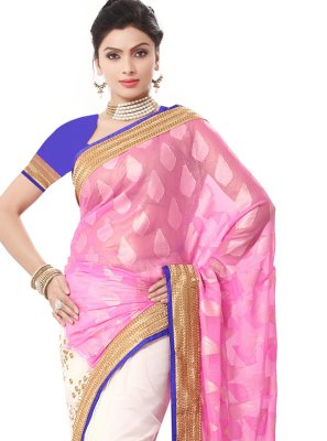 Pink Embroidered Georgette Traditional Saree