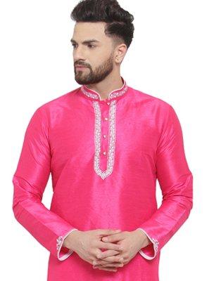 Pink Embroidered Mehndi Kurta