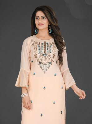 Pink Embroidered Muslin Salwar Suit