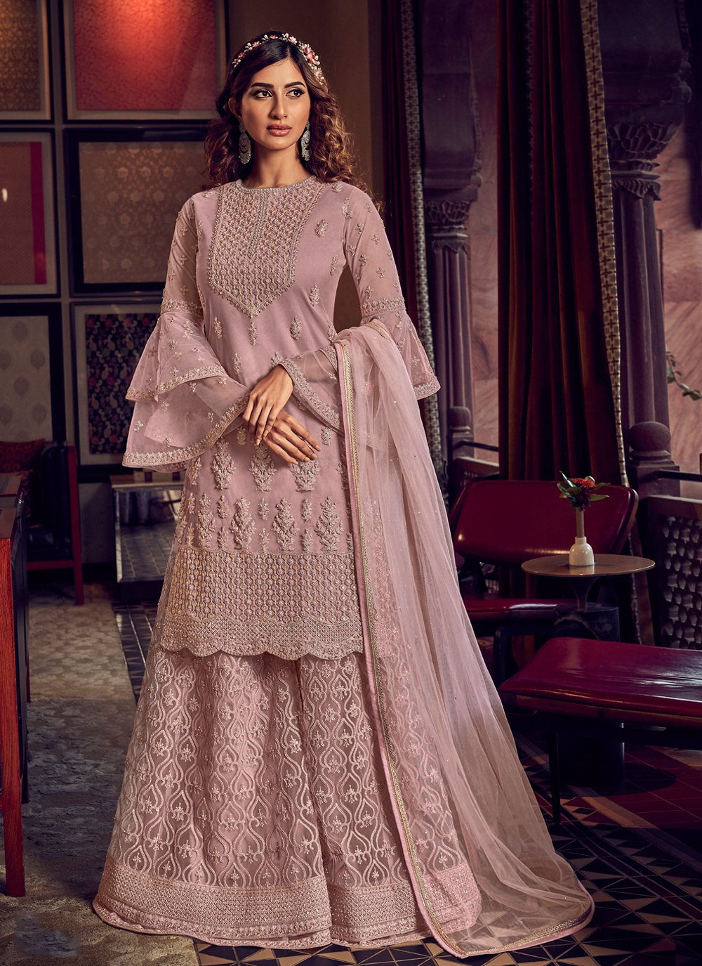 Pink Embroidered Net Designer Palazzo Salwar Kameez