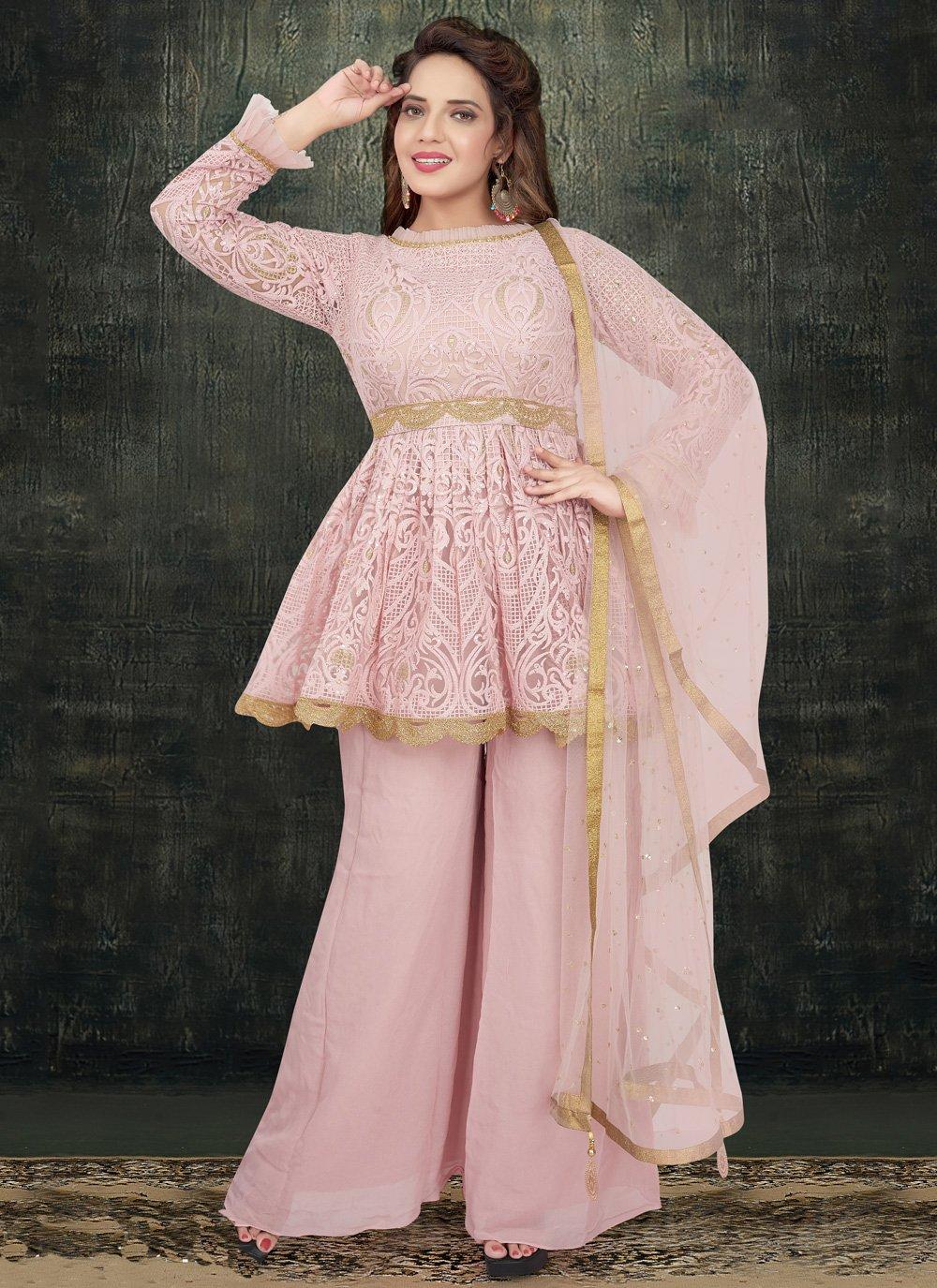 Pink Embroidered Net Designer Salwar Kameez