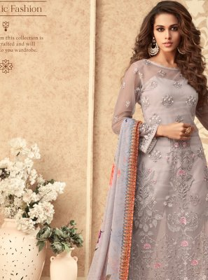 Pink Embroidered Net Straight Salwar Suit