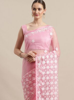 Pink Embroidered Organza Classic Saree