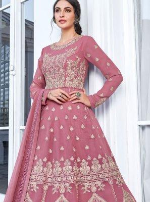 Pink Embroidered Party Trendy Anarkali Salwar Suit