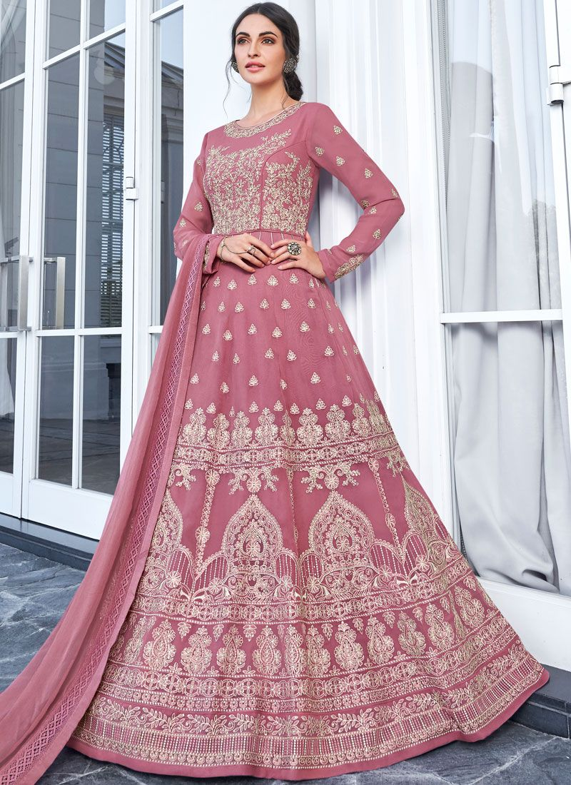 Pink Embroidered Party Trendy Anarkali Salwar Suit